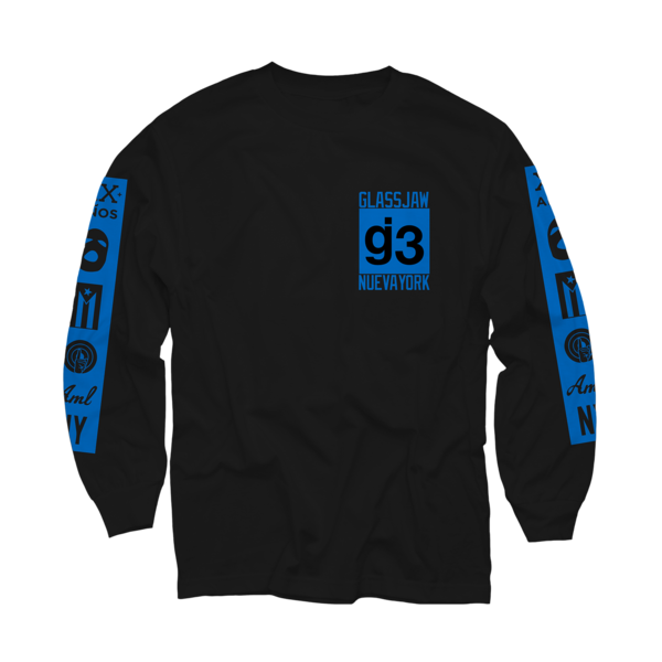 EYEWTKAS Blue Mas Logos on Black Longsleeve