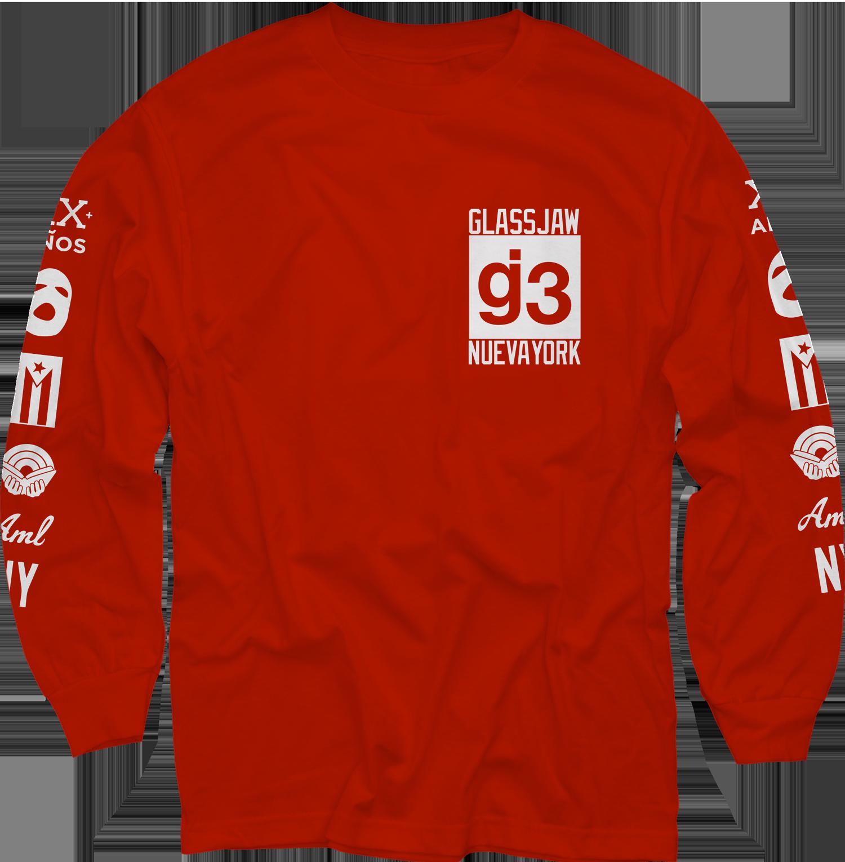 CB mas logos red long sleeve t-shirt - Glassjaw
