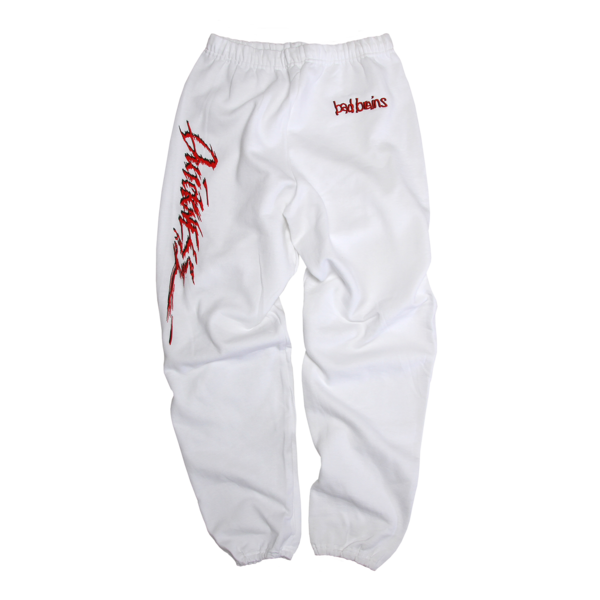 Embroidered Quickness White Sweatpants