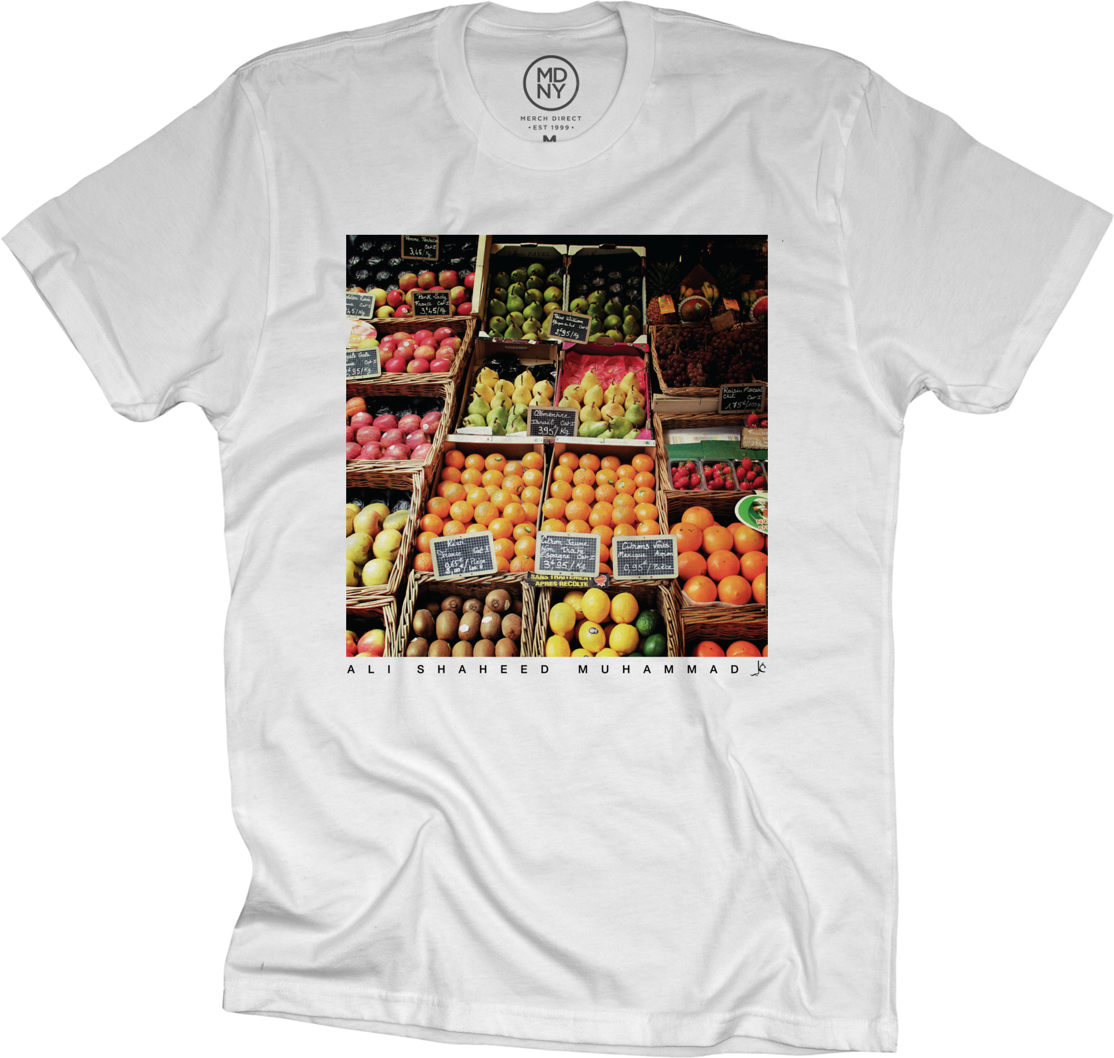 ali shaheed market on white t shirt. Black Bedroom Furniture Sets. Home Design Ideas